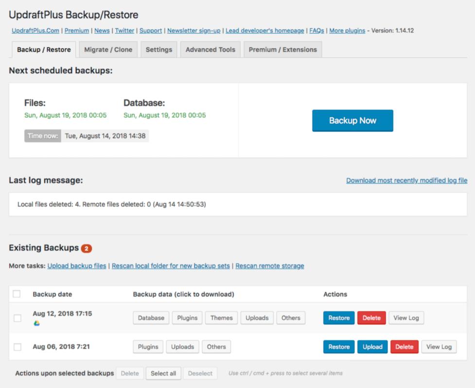 Updraft Plus wtyczka do kopii zapasowych WordPress