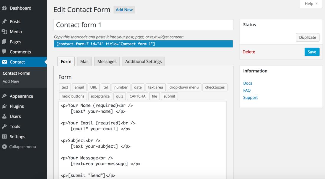 wordpress contact form 7 wtyczka do formularzy
